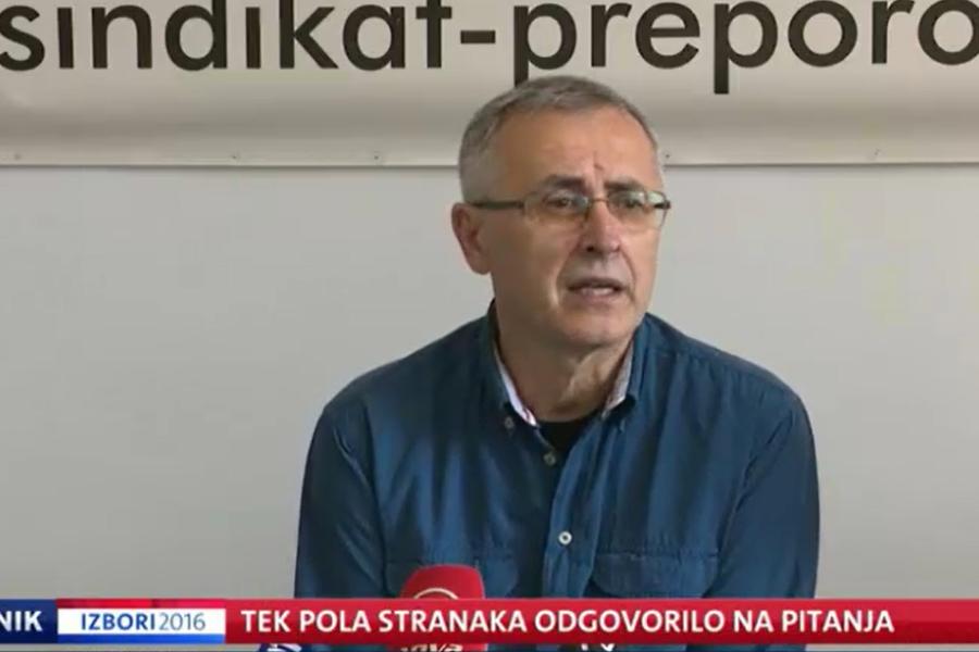 07.09.2016.  Nova TV Prilog u Dnevniku, odgovori na pitanja Sindikata Preporod