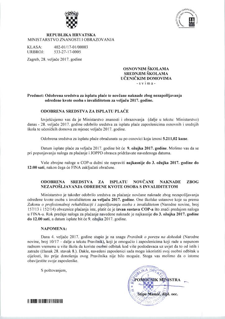 Plaća OŠ, SŠ za veljaču 2017