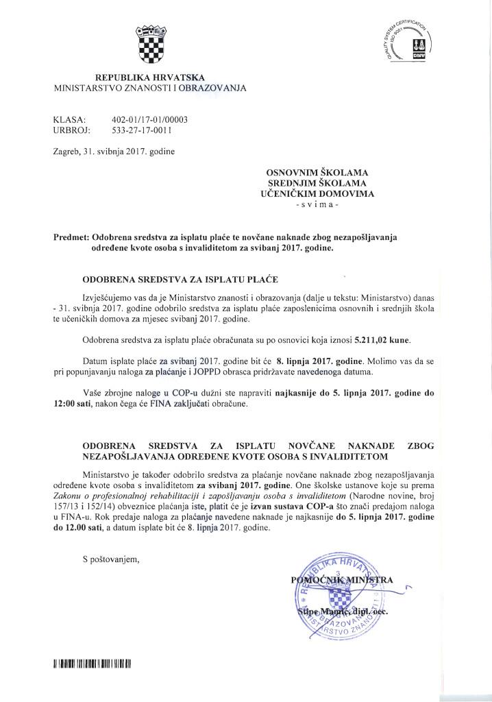 Plaća OŠ,SŠ za svibanj 2017