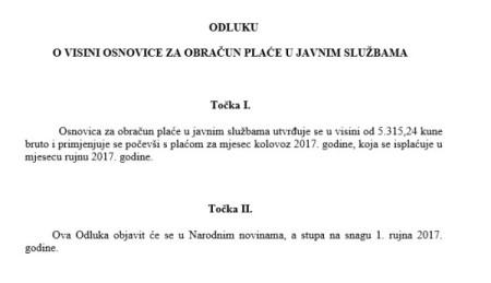 Vlada Republike Hrvatske usvojila odluku o povećanju osnovice za 2% za javne službe