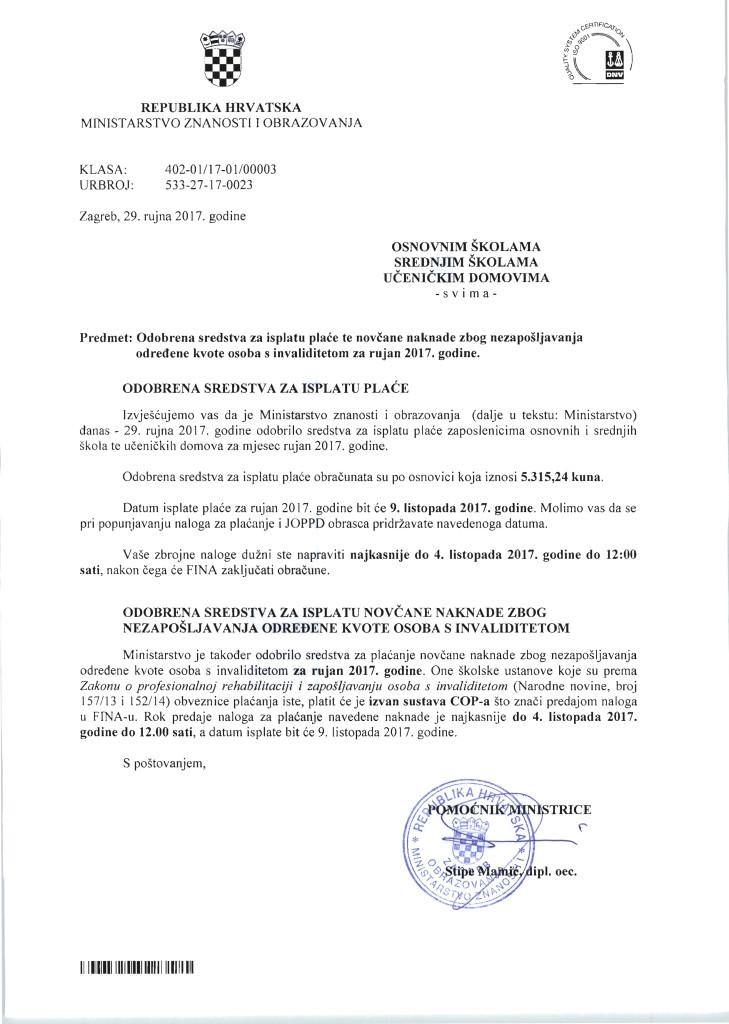 Plaća OŠ, SŠ za rujan 2017