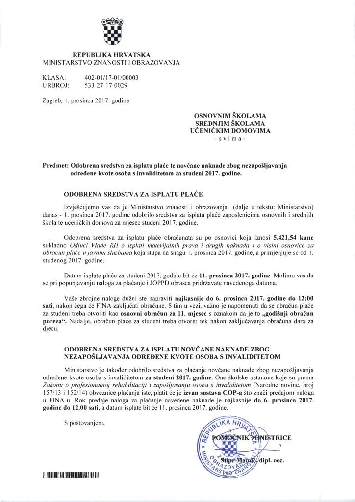 Plaća OŠ, SŠ za studeni 2017