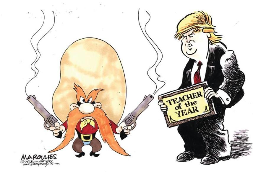 Pogledajte kako su svjetski karikaturisti reagirali na Trumpovu ideju o naoružavanju prosvjetara