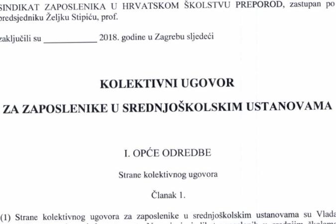 Tekstovi parafiranih GKU za zaposlenike u srednjoškolskom i osnovnoškolskom obrazovanju