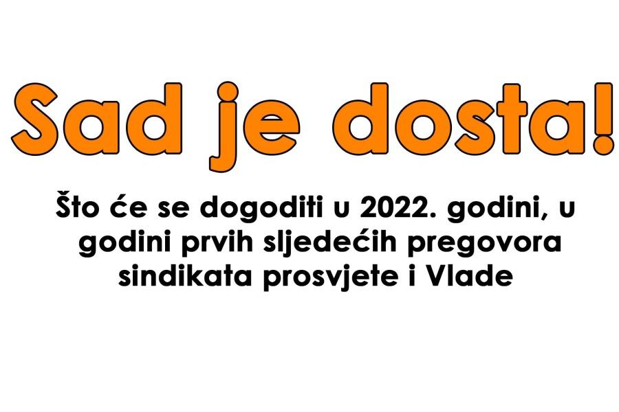 2022. – Godina sljedećih pregovora sindikata u prosvjeti i Vlade