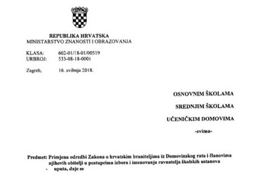 NAPUTAK MINISTRICE DIVJAK ZAPREPASTIO NASTAVNIKE Nezaposleni branitelji odsad će imati prednost u izborima za ravnatelje svih škola u Hrvatskoj