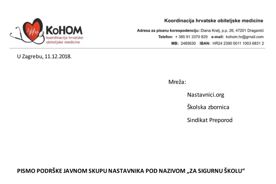"""KOHOM – Pismo podrške javnom skupu """"Za sigurnu školu"""""""